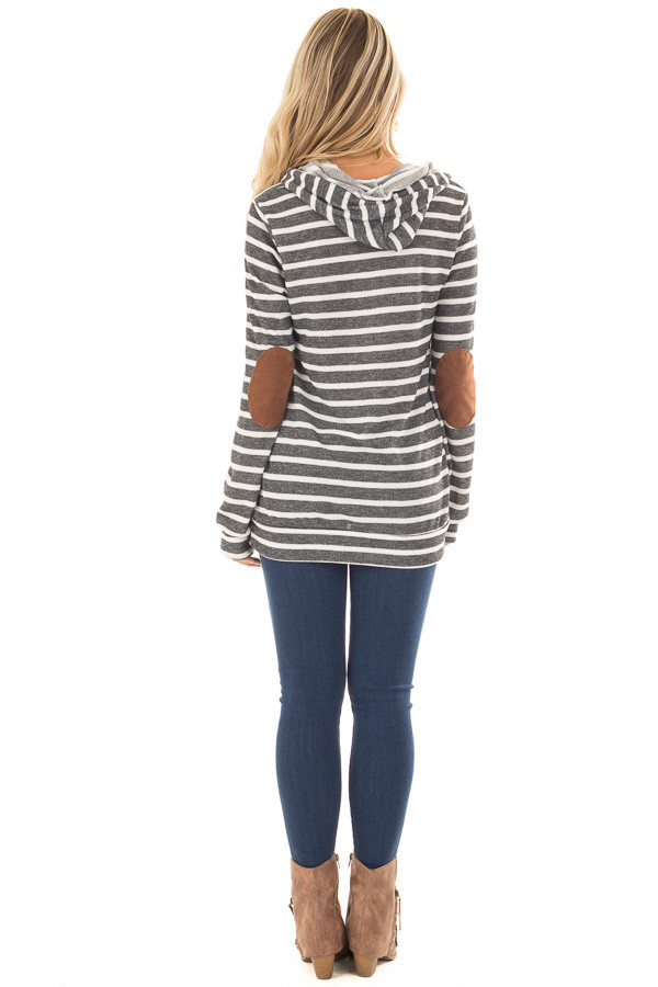 Charcoal Striped Hoodie with Faux Suede Elbow Patches back full body