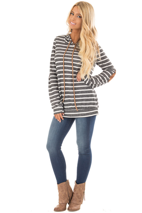 Charcoal Striped Hoodie with Faux Suede Elbow Patches front full body