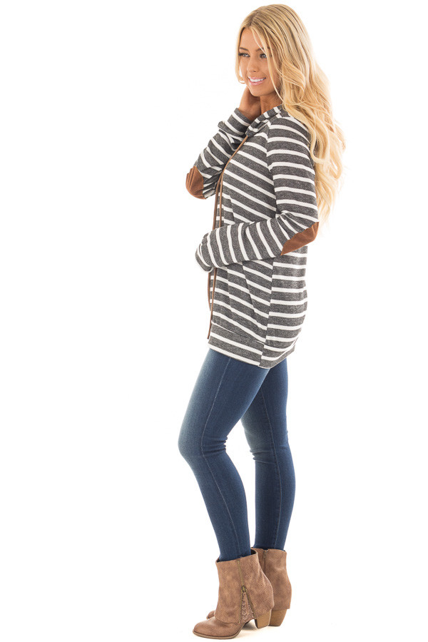 Charcoal Striped Hoodie with Faux Suede Elbow Patches side full body