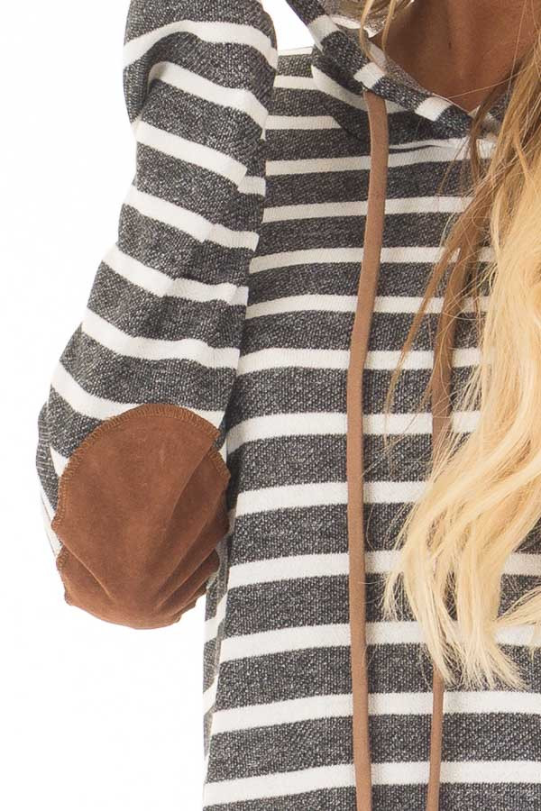 Charcoal Striped Hoodie with Faux Suede Elbow Patches detail