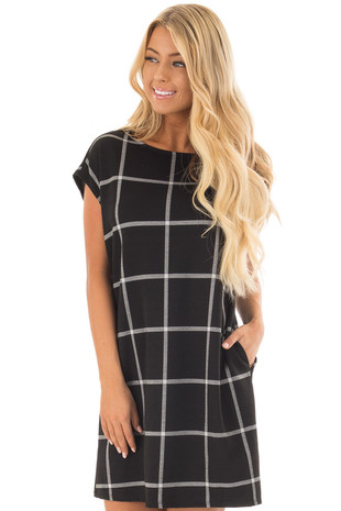 Black and Grey Plaid Tunic Dress with Side Pockets front close up