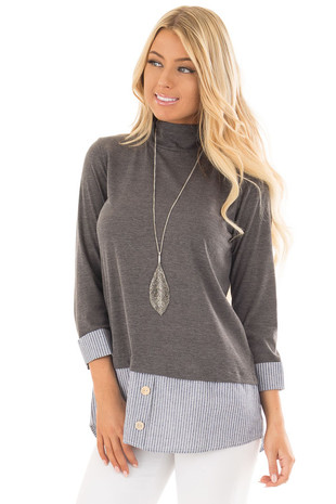 Charcoal Mock Neck Top with Striped Blouse Contrast front close up