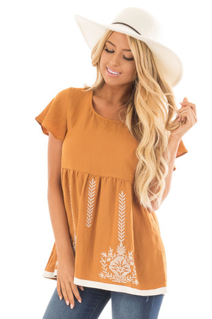 Camel Short Sleeve Babydoll Top with Embroidery Details front close up