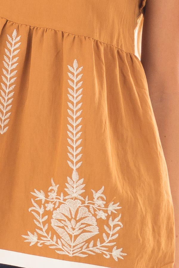 Camel Short Sleeve Babydoll Top with Embroidery Details detail