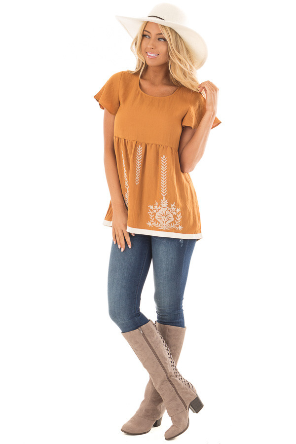 Camel Short Sleeve Babydoll Top with Embroidery Details front full body