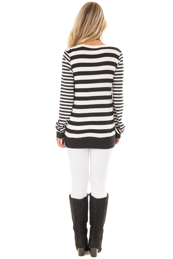 Black and White Striped Long Sleeve Top with Contrast Back back full body