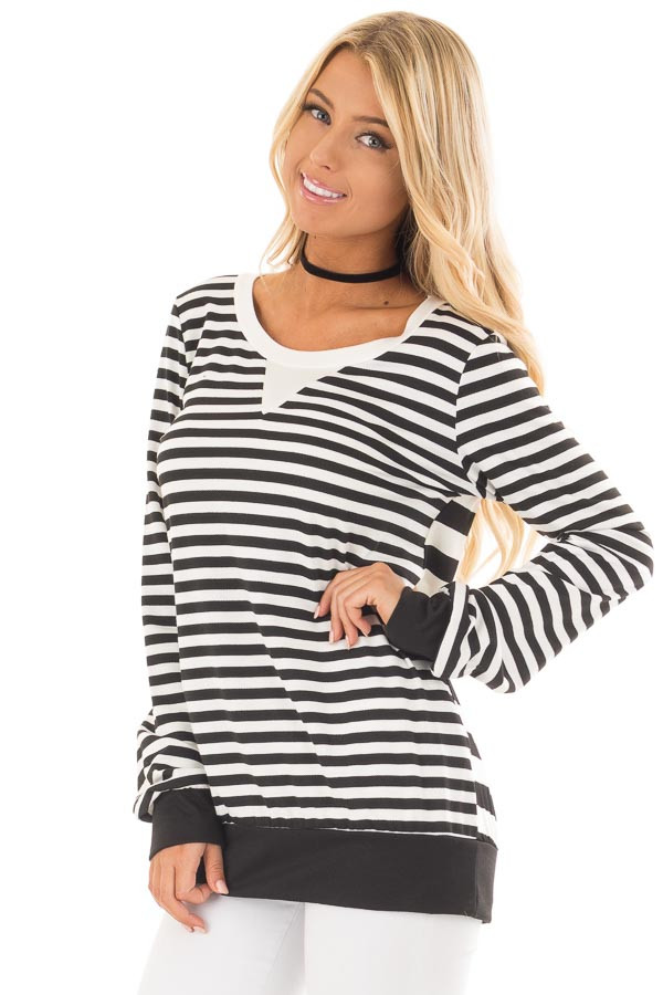 Black and White Striped Long Sleeve Top with Contrast Back front close up