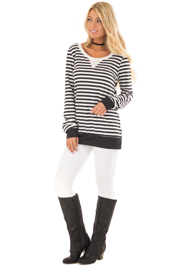 Black and White Striped Long Sleeve Top with Contrast Back front full body