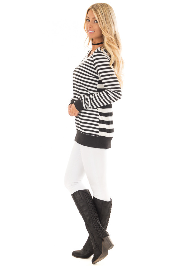 Black and White Striped Long Sleeve Top with Contrast Back side full body