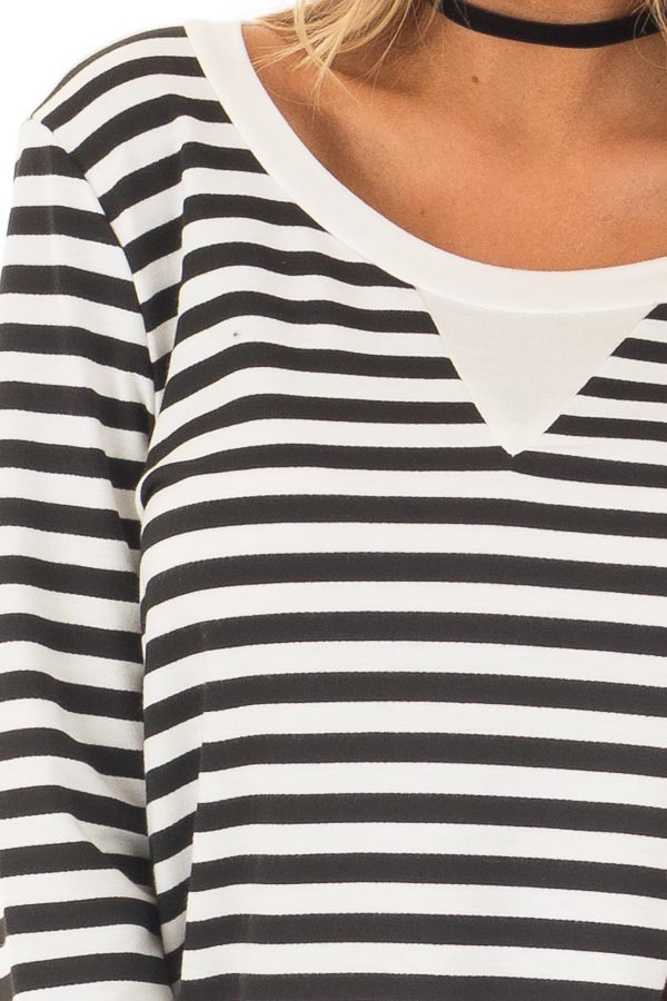 Black and White Striped Long Sleeve Top with Contrast Back detail