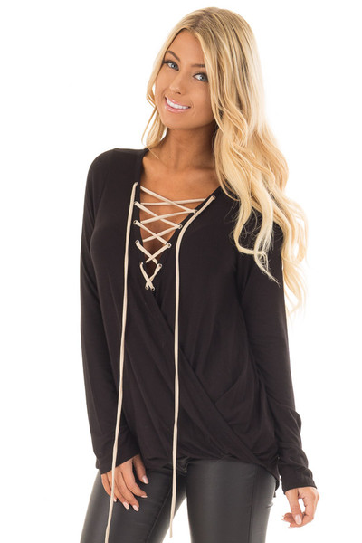 Black Crossover Top with Faux Suede Lace Up Neckline front close up