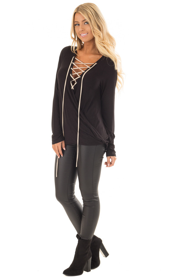 Black Crossover Top with Faux Suede Lace Up Neckline front full body