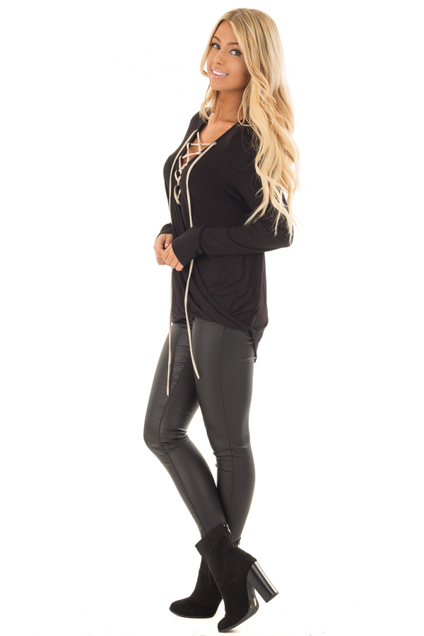 Black Crossover Top with Faux Suede Lace Up Neckline side full body