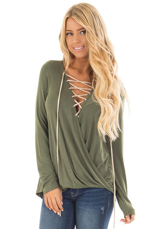 Olive Crossover Top with Faux Suede Lace Up Neckline front close up