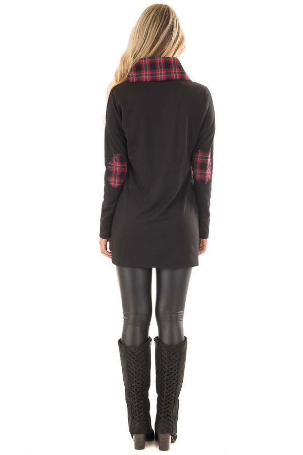 Black Tunic Sweater with Red and Black Plaid Contrast back full body
