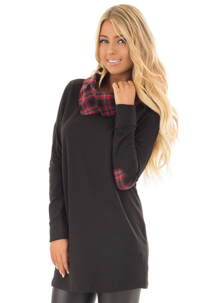 Black Tunic Sweater with Red and Black Plaid Contrast front close up