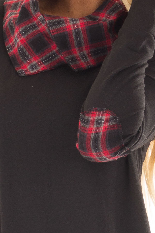 Black Tunic Sweater with Red and Black Plaid Contrast detail