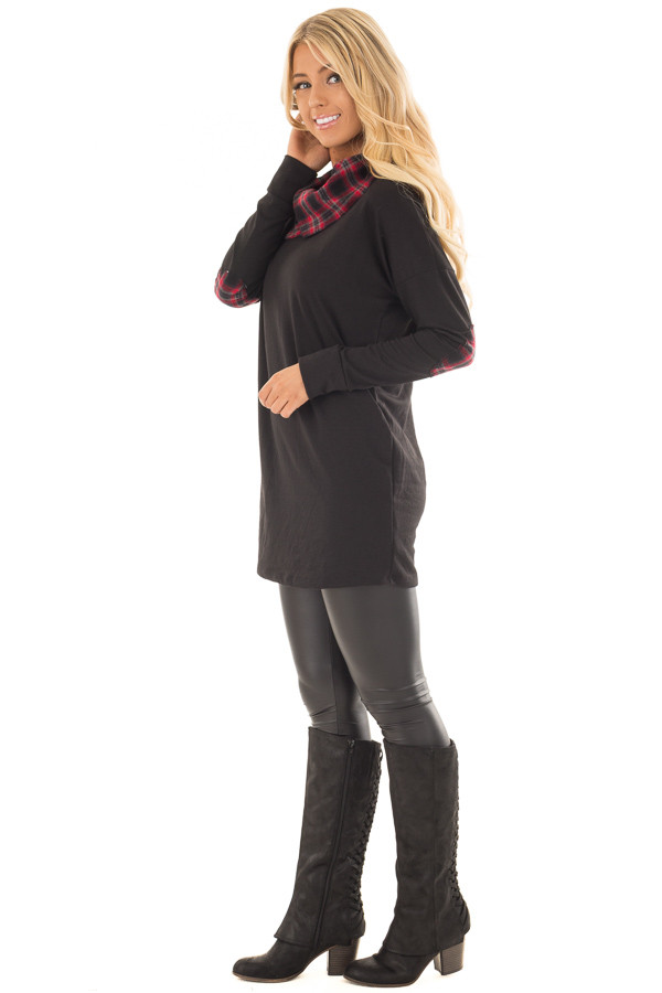 Black Tunic Sweater with Red and Black Plaid Contrast side full body