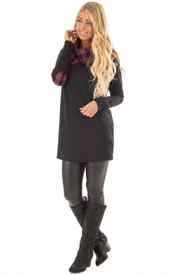 Black Tunic Sweater with Red and Black Plaid Contrast front full body