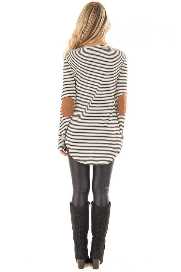Black and Ivory Striped Top with Faux Suede Elbow Patches back full body