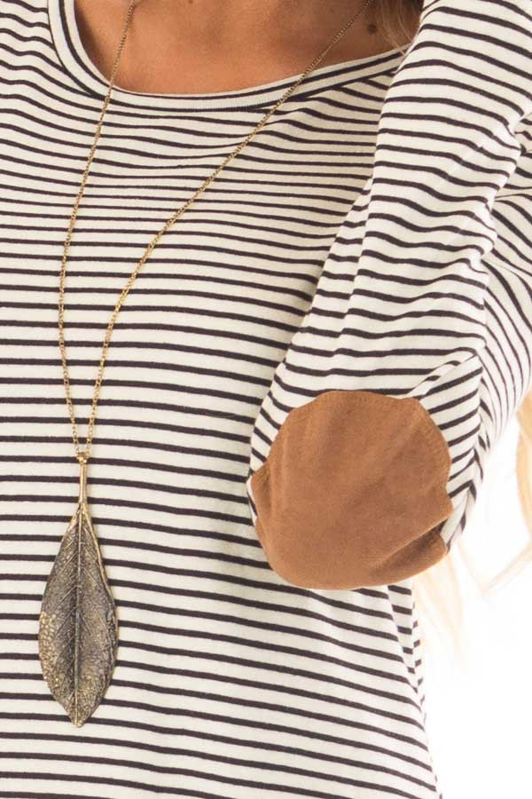 Black and Ivory Striped Top with Faux Suede Elbow Patches detail