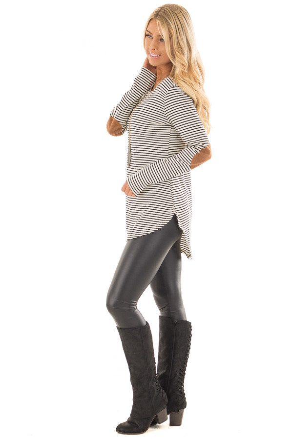 Black and Ivory Striped Top with Faux Suede Elbow Patches side full body