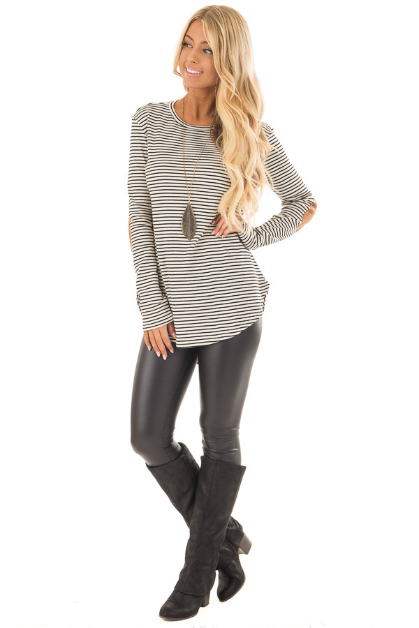 Black and Ivory Striped Top with Faux Suede Elbow Patches front full body