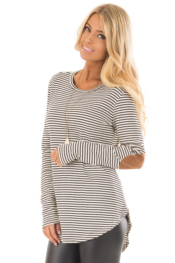 Black and Ivory Striped Top with Faux Suede Elbow Patches front close up
