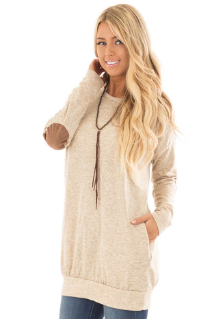 Oatmeal Loose Fit Tunic Top with Faux Suede Elbow Patches front close up