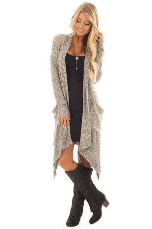 Taupe Two Tone Soft Knit Long Cardigan front full body