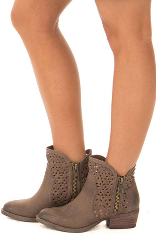 Taupe Faux Leather Ankle Boot with Cut Out Design side view