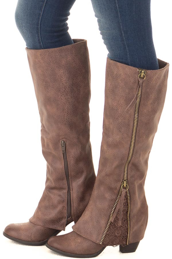 Chocolate Faux Leather Tall Boot with Crochet and Zipper Detail side view