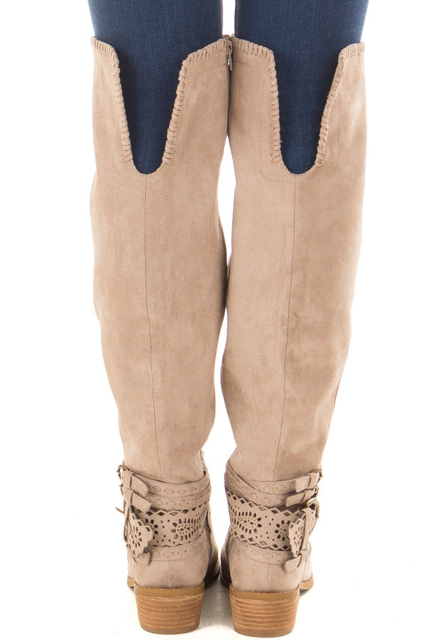 Taupe Faux Suede Over the Knee Boot with Ankle Strap Detail back view