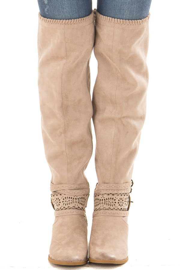 Taupe Faux Suede Over the Knee Boot with Ankle Strap Detail front view
