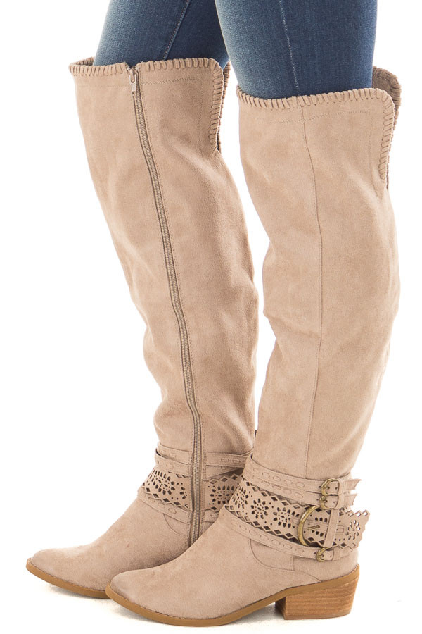Taupe Faux Suede Over the Knee Boot with Ankle Strap Detail side view
