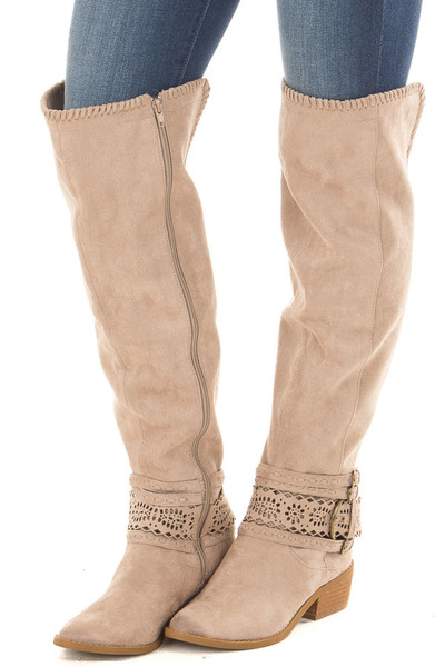 Taupe Faux Suede Over the Knee Boot with Ankle Strap Detail front side view