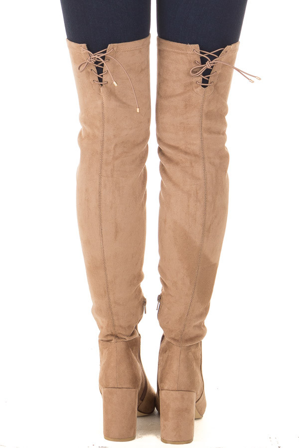 Camel Faux Suede Over the Knee Boot with Tie Back Detail back view