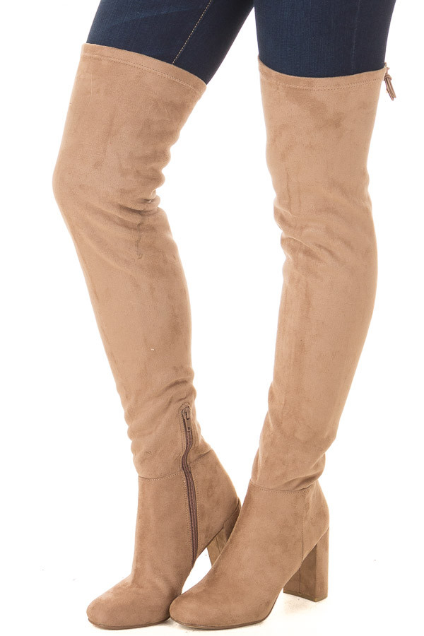 Camel Faux Suede Over the Knee Boot with Tie Back Detail front side view