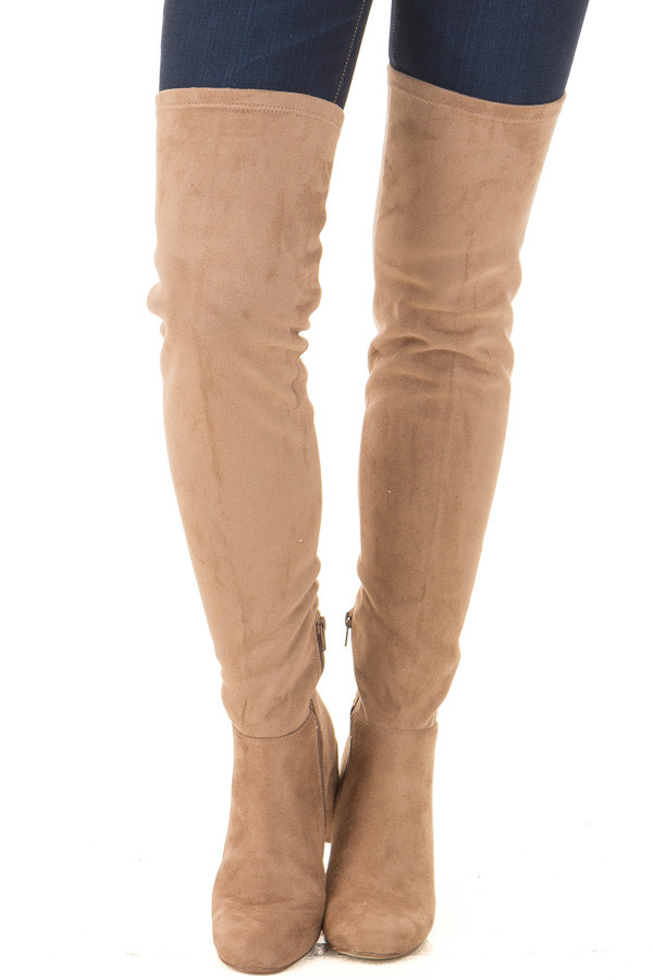 Camel Faux Suede Over the Knee Boot with Tie Back Detail front view