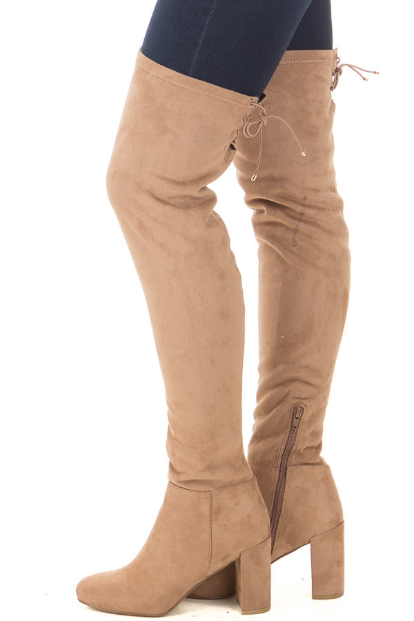 Camel Faux Suede Over the Knee Boot with Tie Back Detail side view