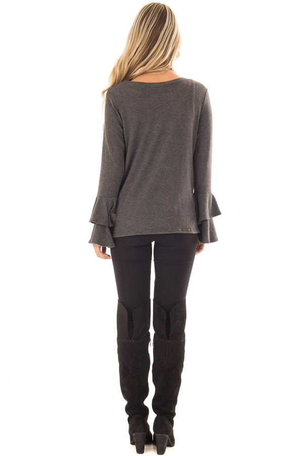Charcoal Soft Knit Long Sleeve Top with Tiered Bell Sleeves back full body
