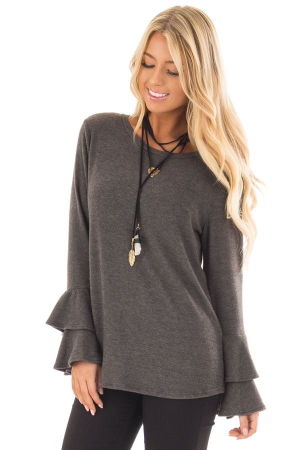 Charcoal Soft Knit Long Sleeve Top with Tiered Bell Sleeves front close up