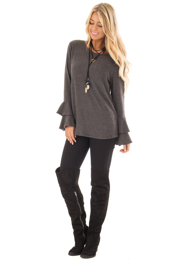 Charcoal Soft Knit Long Sleeve Top with Tiered Bell Sleeves front full body