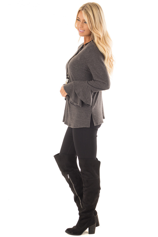 Charcoal Soft Knit Long Sleeve Top with Tiered Bell Sleeves side full body