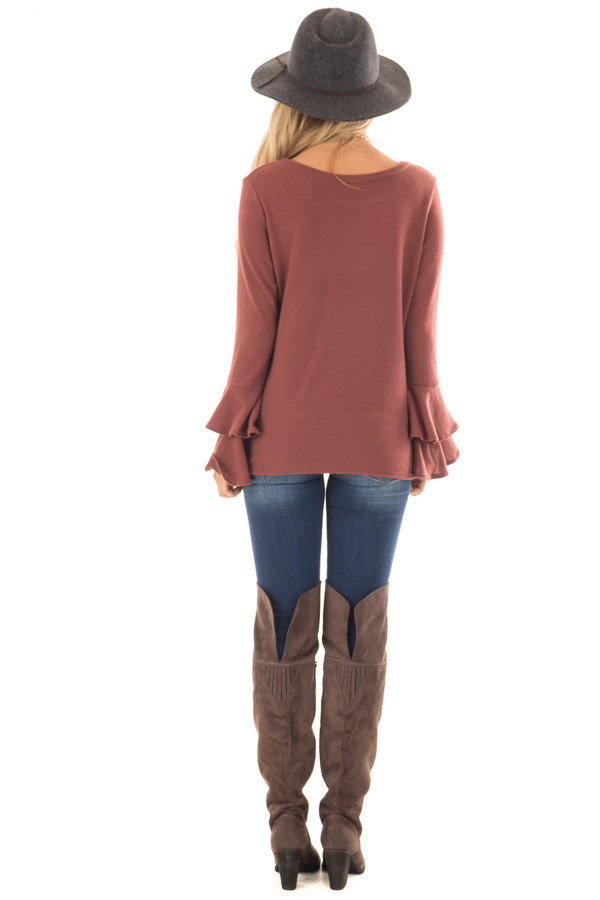 Marsala Soft Knit Long Sleeve Top with Tiered Bell Sleeves back full body