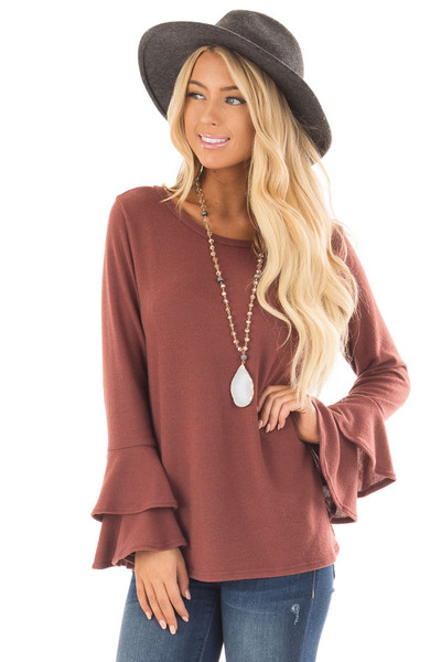 Marsala Soft Knit Long Sleeve Top with Tiered Bell Sleeves front close up