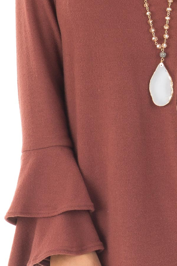 Marsala Soft Knit Long Sleeve Top with Tiered Bell Sleeves detail