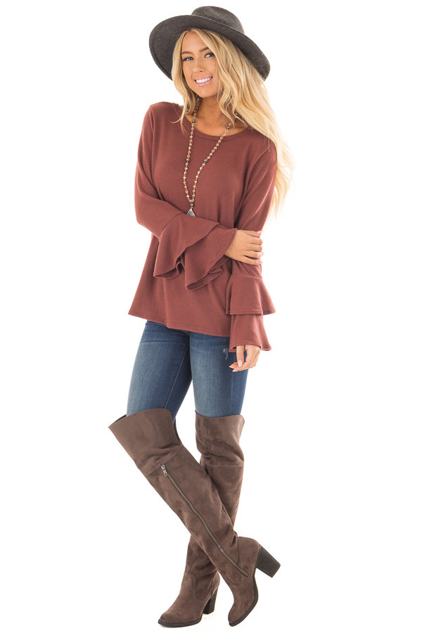 Marsala Soft Knit Long Sleeve Top with Tiered Bell Sleeves front full body