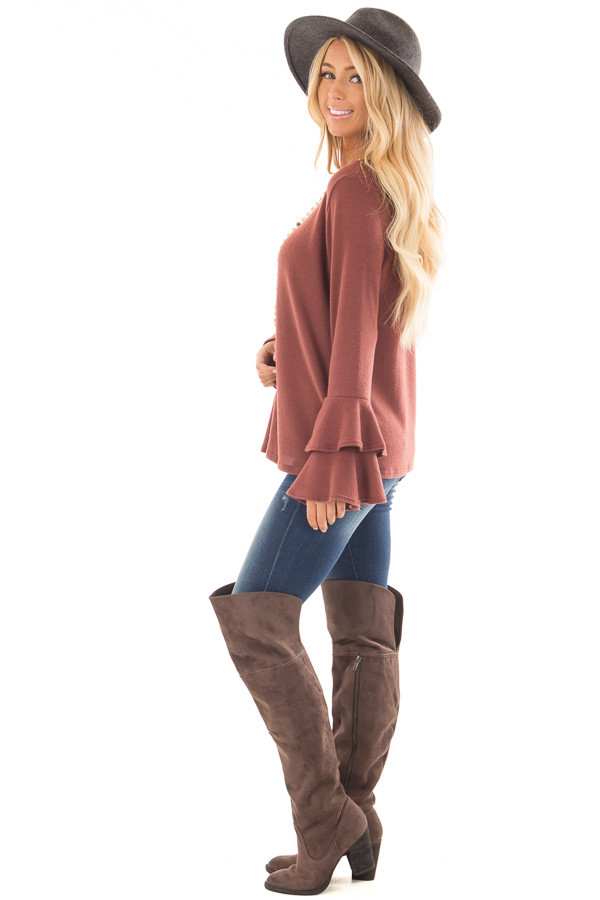 Marsala Soft Knit Long Sleeve Top with Tiered Bell Sleeves side full body