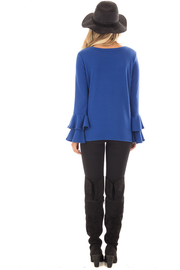 Royal Blue Soft Knit Long Sleeve Top with Tiered Bell Sleeves back full body
